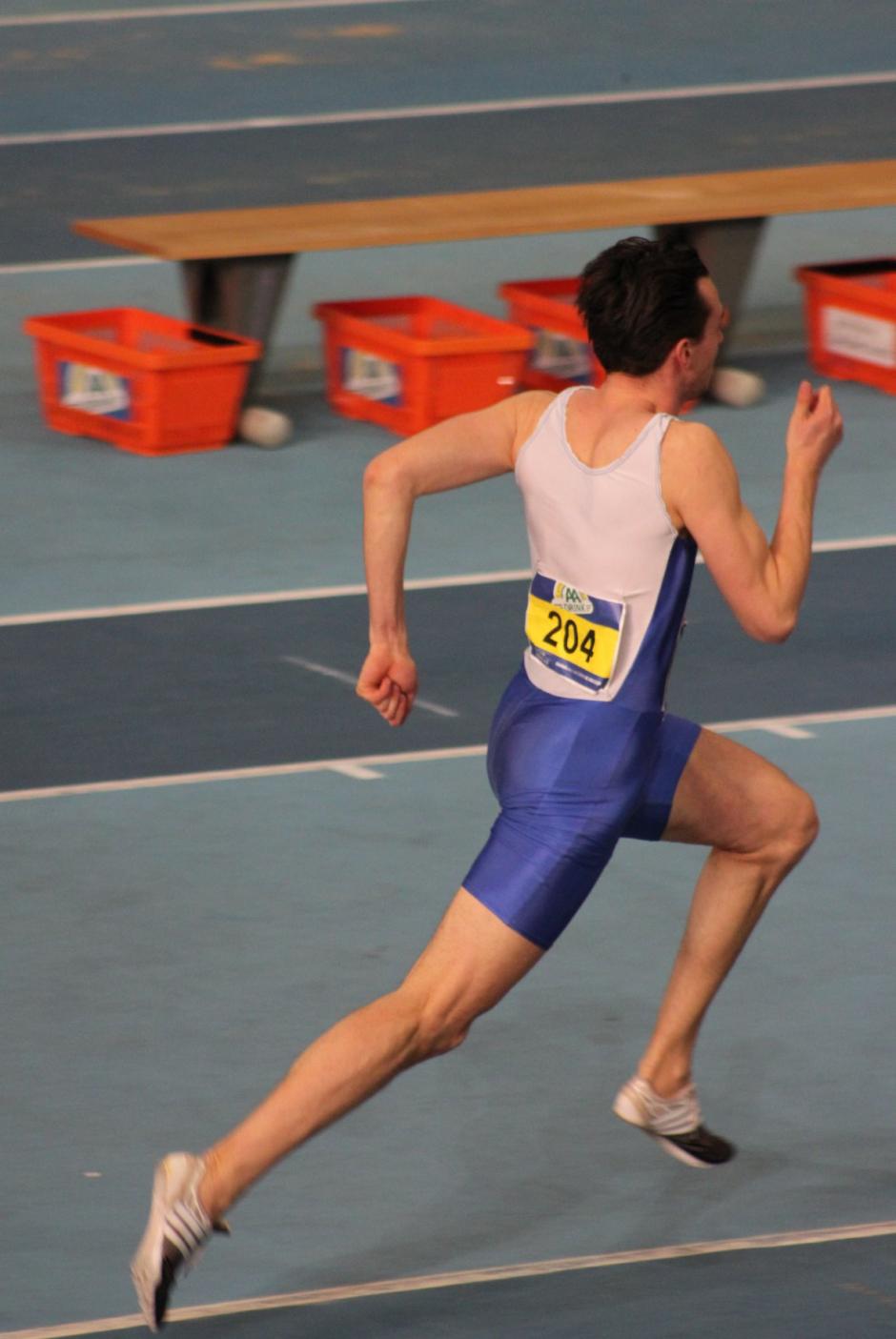 Robin Huber tijdens zijn finale 200 meter
